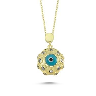 Online Takı Nazar Boncuğu Gümüş Kolye Renkli